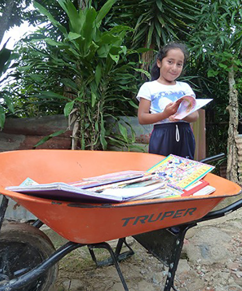 A wheelbarrow library opens up new worlds