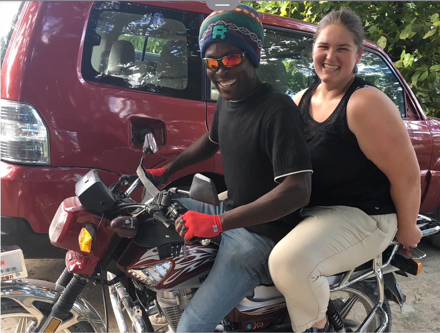 Abby on a moto